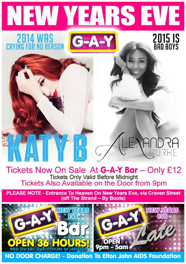 RT @JeremyJoseph: There's only one way to start 2015  @KatyB & @alexandramusic  New Years Eve At G-A-Y  Tickets On Sale At G-A-Y Bar http:/…