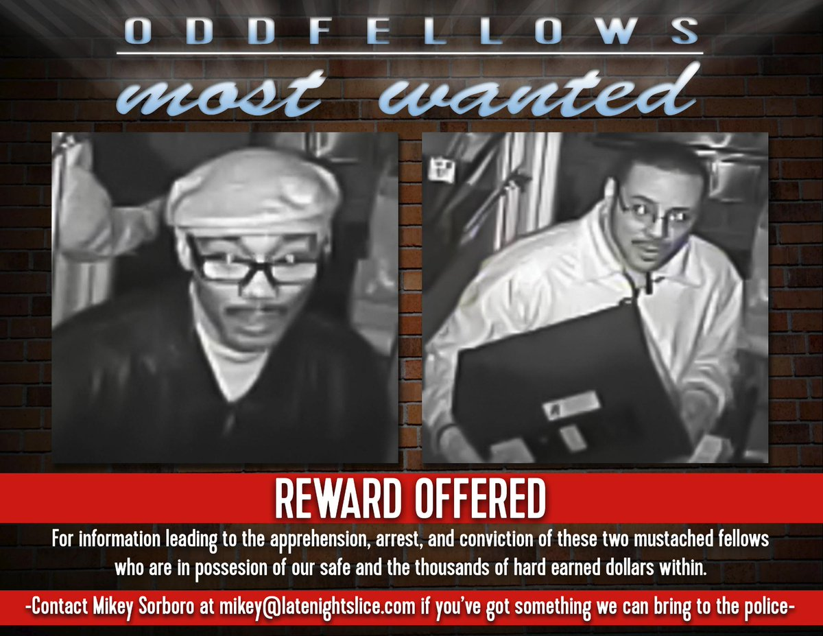 Help our friends at Oddfellows Liquor Bar locate the mustached bandits that robbed them this weekend! http://t.co/dJixgaiyz6