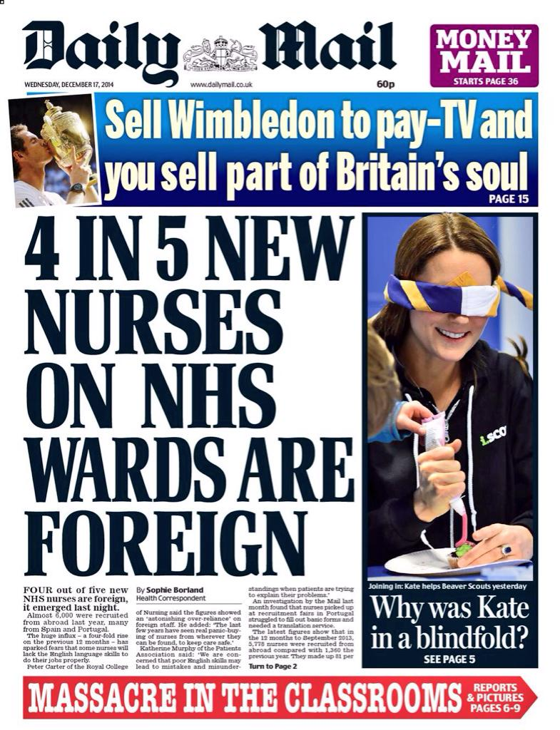 Mail splashes on the amazing contribution of immigrants to looking after the health of Britons and buoying NHS http://t.co/IrWyWX567f