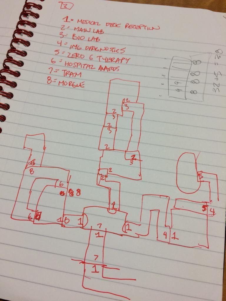 Just found this map of the Ishimura's Medical Deck from Dead Space 1 in an old notebook. http://t.co/tNJMOQnqWl