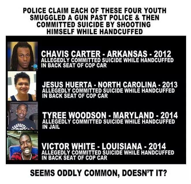 """@MrPooni: Care to explain how being shot in the back while handcuffed can be considered suicide? #AskACop http://t.co/WnUl2C6yRg"""