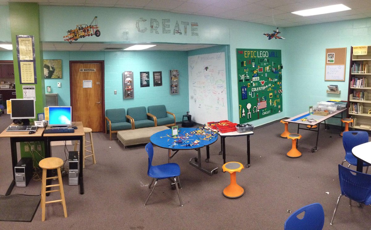 A4: This is a picture of how our #Makerspace has come together.  You can see LEGO wall & whiteboard wall #txlchat http://t.co/YR9yExeLgr