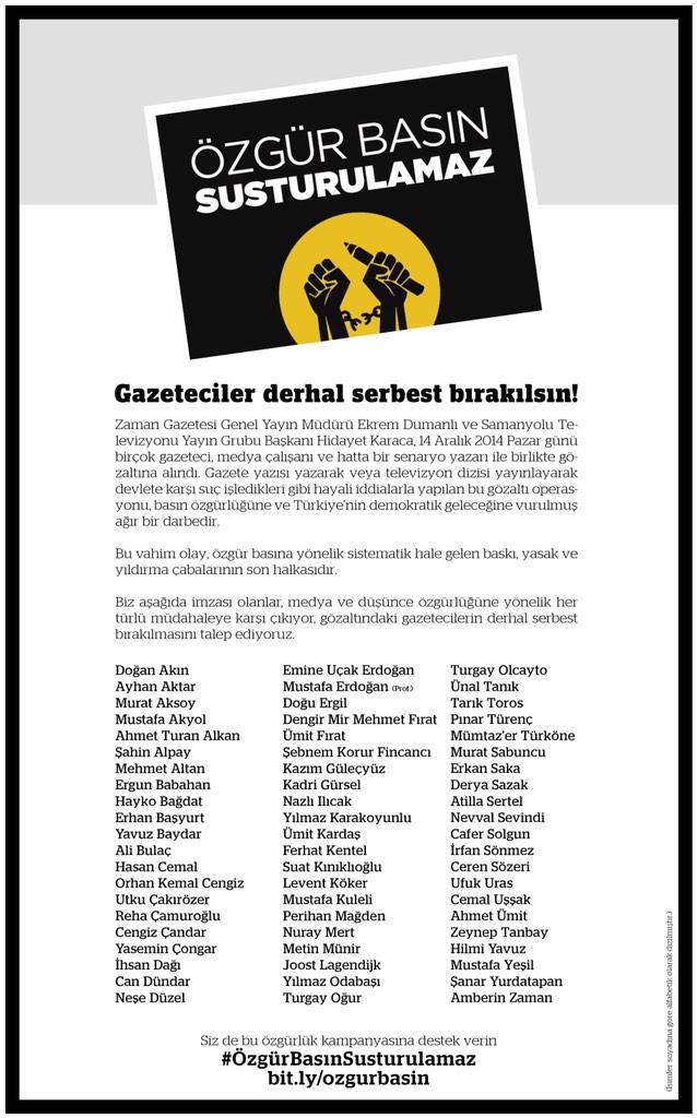 Bildiri: #GazetecilerDerhalBırakılsın [Set Journalists Free, Now!]