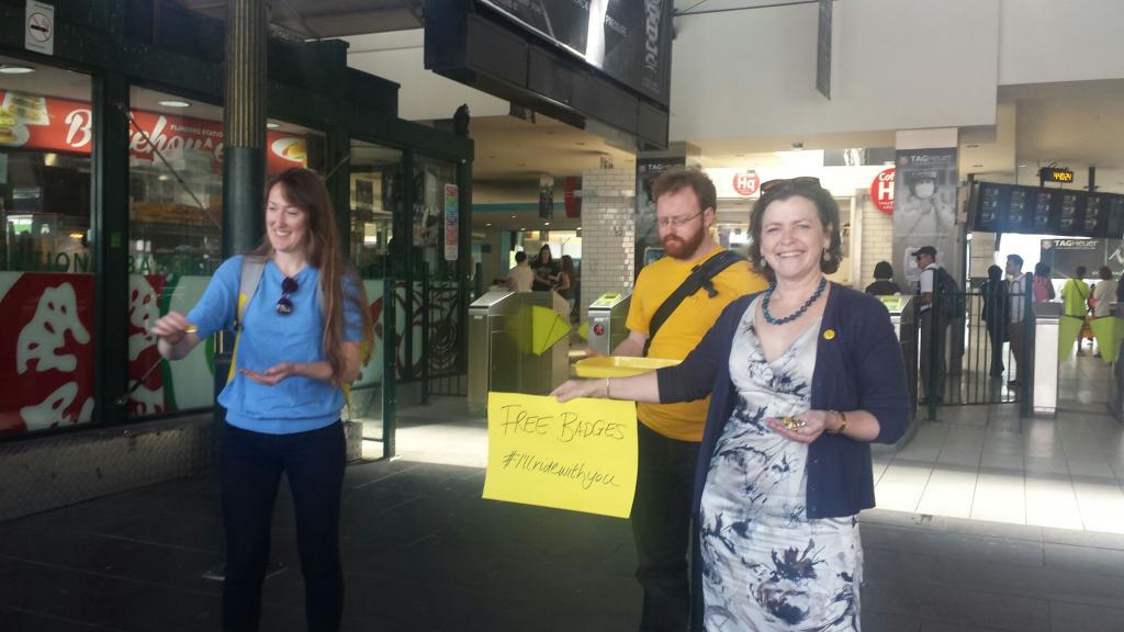Happening now at Flinders St Station MakeBadges handing out #IllRideWithYouBadges @stephspeirs http://t.co/uZaEP0KkFD http://t.co/k5fEcIALWw