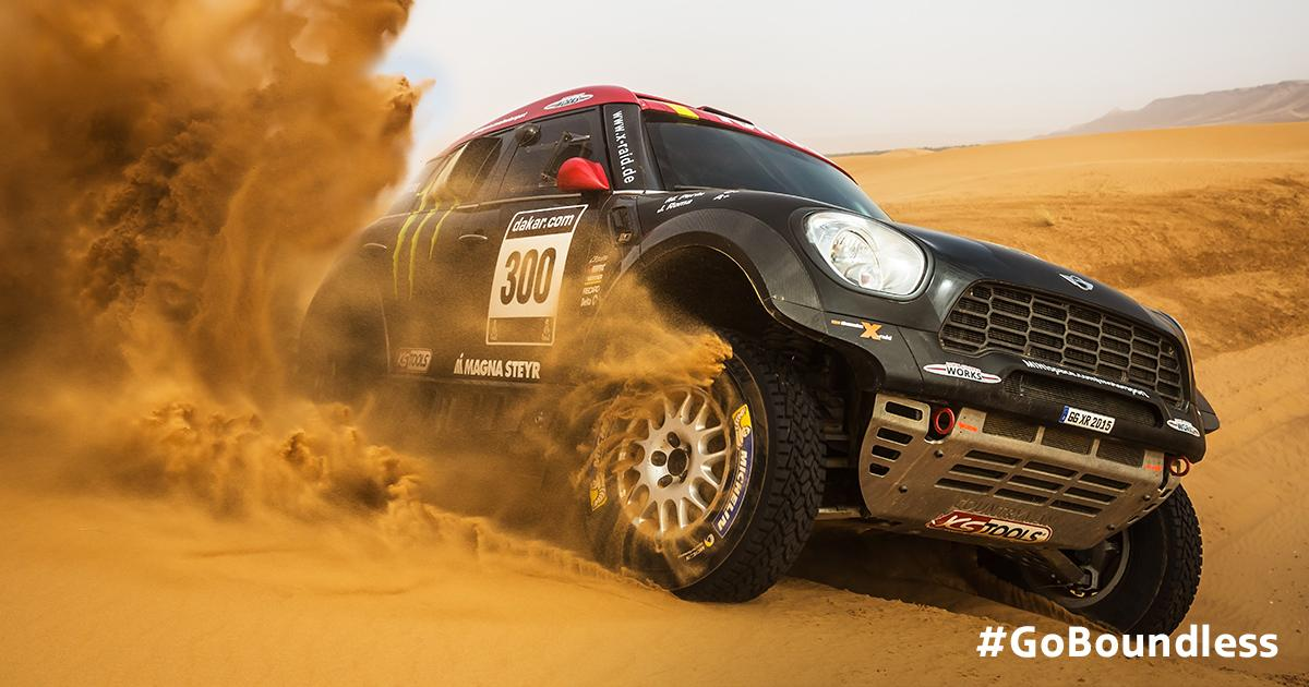 The race is on. Follow @MINImotorsport for live updates from #Dakar2015. #GoBoundless http://t.co/280OXFSctb