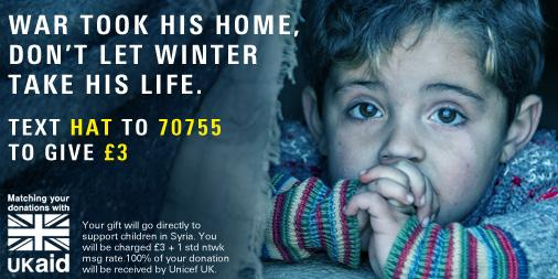 RT @UNICEF_uk: As temperatures drop, more than 7 million Syrian children are in danger.   You can help http://t.co/cIlhTvrhXW