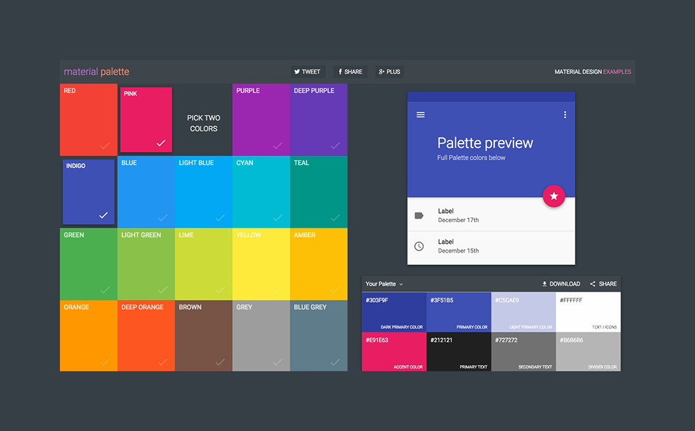 #materialdesign color juxtapositions made simple — materialpalette.com by @mattaussaguel