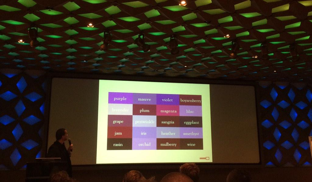 Tim Manders van @BeeldenGeluid illustreert het concept thesaurus met de kleur 'paars' ^IJ http://t.co/2P692ssxcc