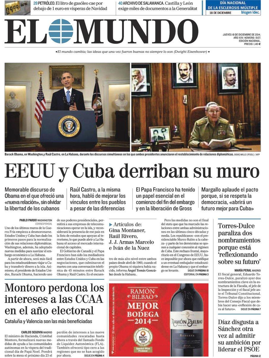 La portada de EL MUNDO de mañana http://t.co/BMXQGH9z6l