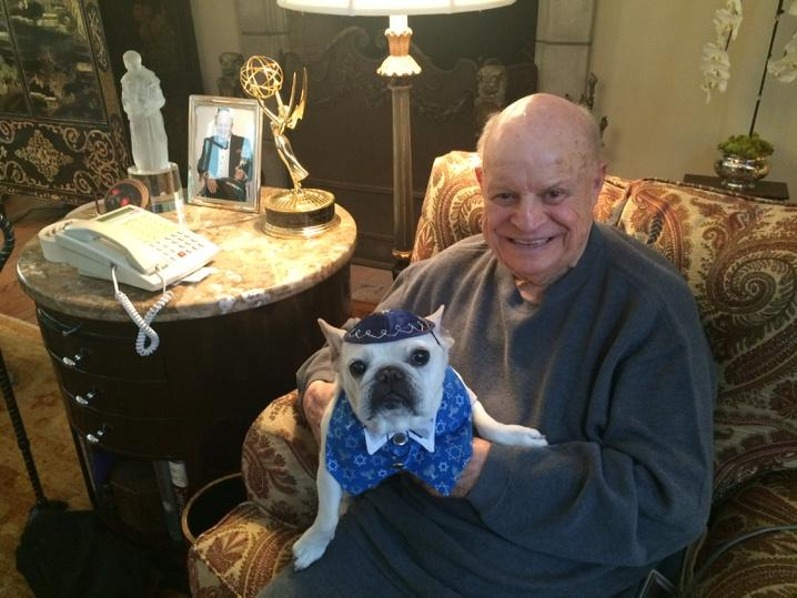 Chauncey & I want to wish all our friends a Happy Hanukkah. He would autograph this pic, but he's  watching DOG TV! http://t.co/6WknGtYjiv