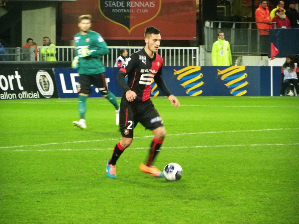 Zajkov at his lone appearance for the Rennes first team