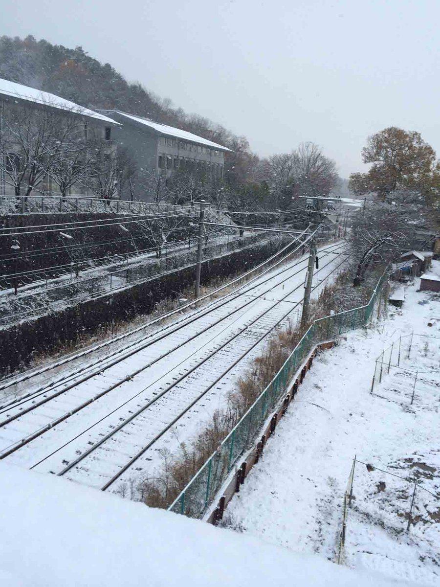一面が銀世界の岩倉ですよー。雪は今もしんしんと降り続いているでしかー。みんな、特に坂道や階段では滑らないように気をつけるですよー。写真は京都精華大学前駅からですー。 http://t.co/GnFbfAEA9m