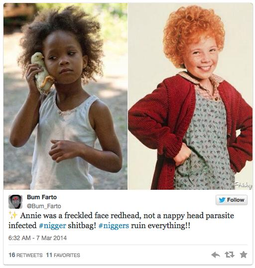 Reminder of how white people reacted to the news that fictional character Annie was going to be black: http://t.co/ZtzvjeIgoC