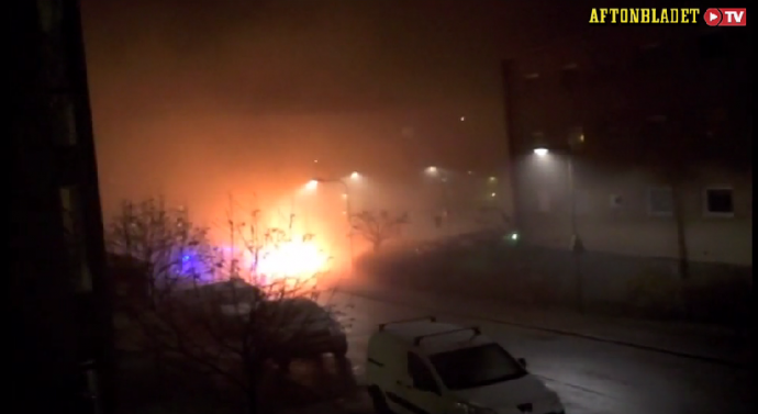 Like leftists here, Muslims torch police cars in Sweden