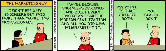 Today's Dilbert on marketing vs. engineering is awesome: http://t.co/3TpC4ePK7G http://t.co/o0FkjTbSaP