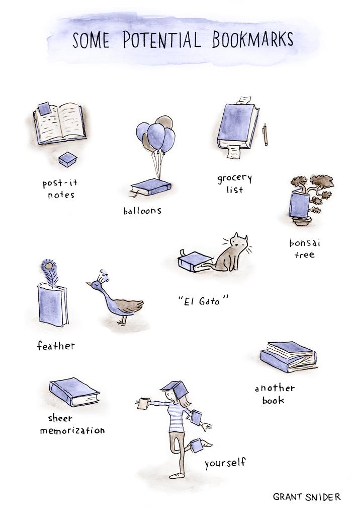 Nos encantan estos marcapáginas inusuales que dibuja @grantdraws http://t.co/XiIAq3KsRv http://t.co/ZtjQ2y4rLM