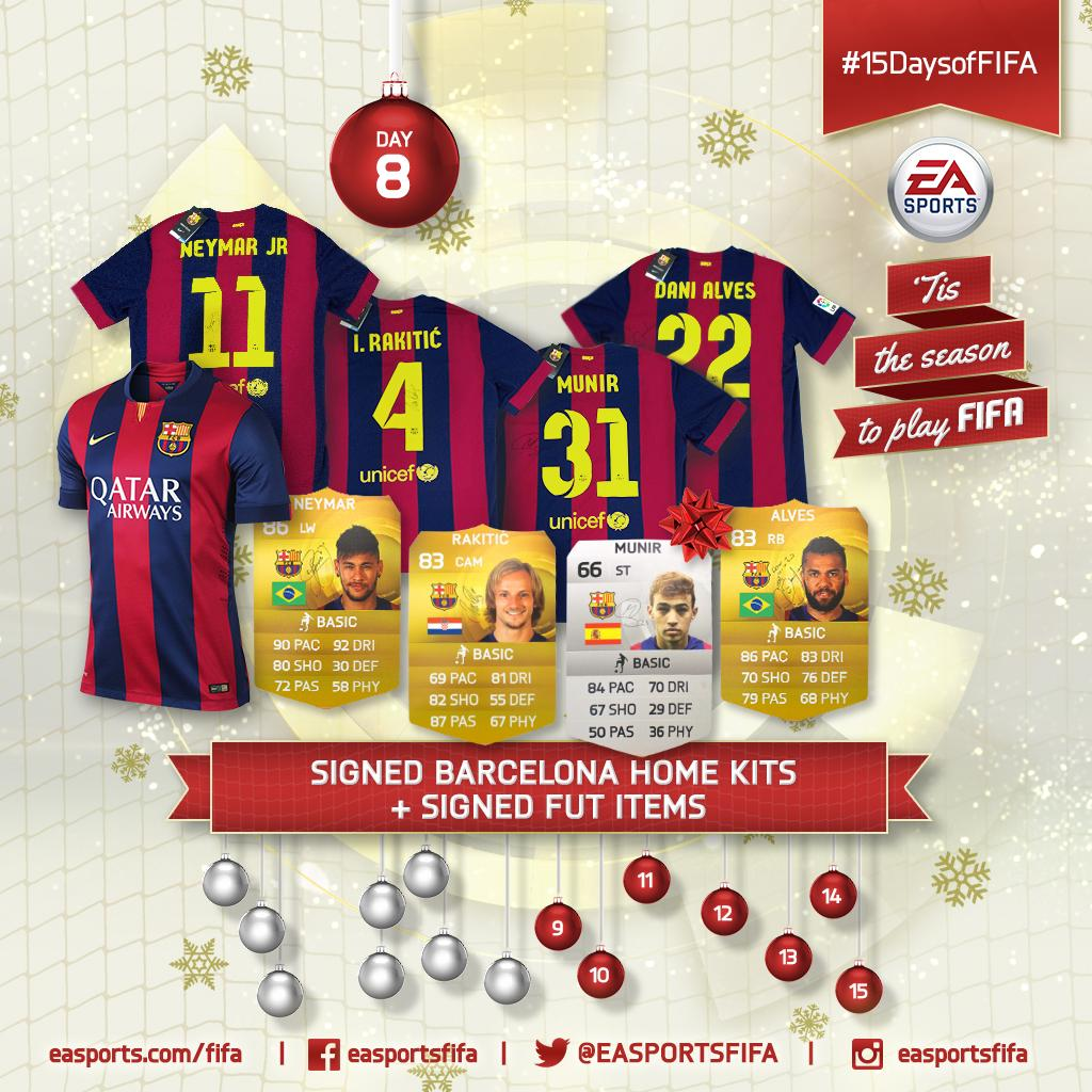 Day 8: signed @FCBarcelona kits and #FUT items! FOLLOW & RETWEET to win @DaniAlvesD2 and @Munirhaddadi. #15DaysofFIFA http://t.co/lRetqRemTq