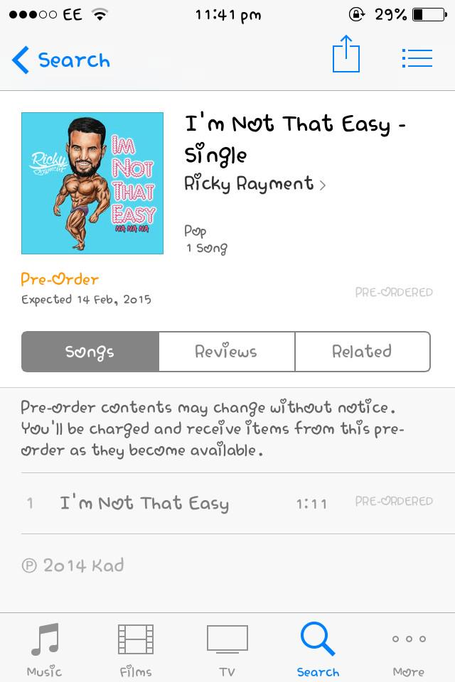 RT @AmyEllenLouiseW: @RickyRayment, preordered #imnotthateasy 🎉 http://t.co/GuImMqnuFe