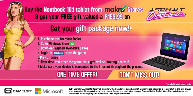South africa only: buy a nextbook tablet & receive a gift