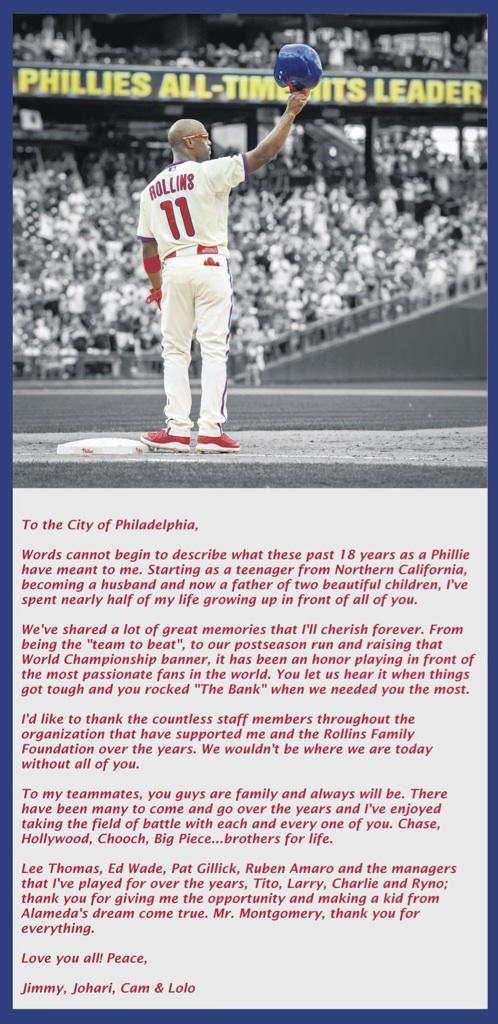 "Jimmy Rollins writes ""love letter"" to Phillies fans in @PhillyInquirer. Here it is http://t.co/2yEuwPX4zB"