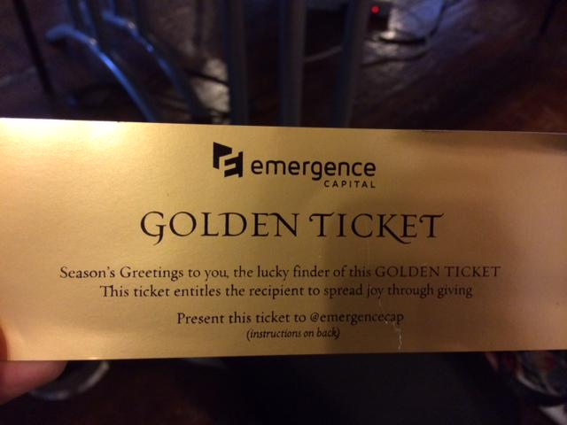 Thanks @emergencecap for the golden ticket! @jakesaper and I would like to donate our ticket (189) to @firstgraduate http://t.co/sOdCwXiFEL
