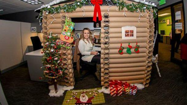 Christmas Woman Transforms Cubicle Into Christmas Log