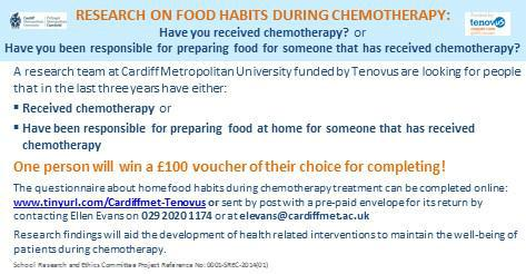 RT @Research_Ellen: Please RT @mouthwaite: Chemotherapy patients and carers needed for food related research http://t.co/Bi2XUCXyto http://…