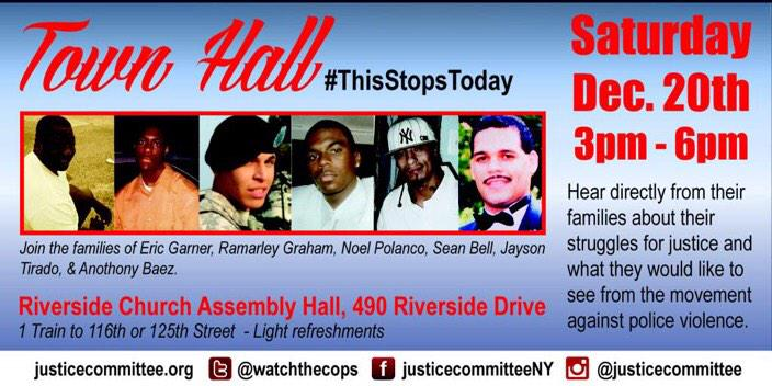 RT @thisstopstoday: Over the course of 20 years, these families have lost loved ones to NYPD Violence. Hear them TODAY 3p #ThisStopsToday h…