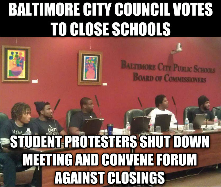 RT @sonsandbros: 10 students stopped a Baltimore School Board vote to close 10 schools! #BOSS https://t.co/PIrb5XKYP9 http://t.co/R5yfa2T3tX
