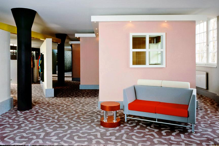 Memphis Milano On Twitter Ettore Sottsass Interior Design For Esprit Stores In Germany Showing Hyatt Table Knoll Westside Sofa