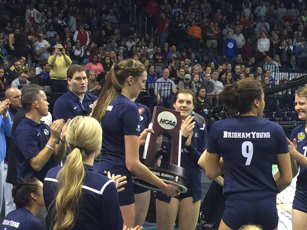 VB | @BYUwvolleyball with #NCAAVB National Runner-up trophy - the best finish in program, WCC history. #Represent http://t.co/L76gNkcDOs