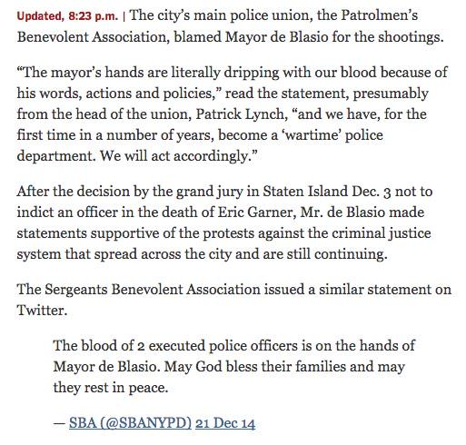 "NYPD is now a ""Wartime Police Department"" & ""will act accordingly"" http://t.co/6suZAj37lv"