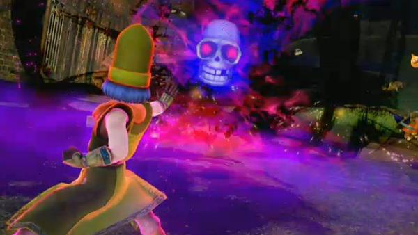 ジャンプフェスタでドラクエヒーローズ登場キャラのクリフトの必殺技が公開。ザラキ連発で効かなかった後にヤケなって強力なのを放つFC版ドラクエ4をプレイした人にはクスッとなるシーンです。ちなみにDQMBとどめの一撃と同じモーションですね。