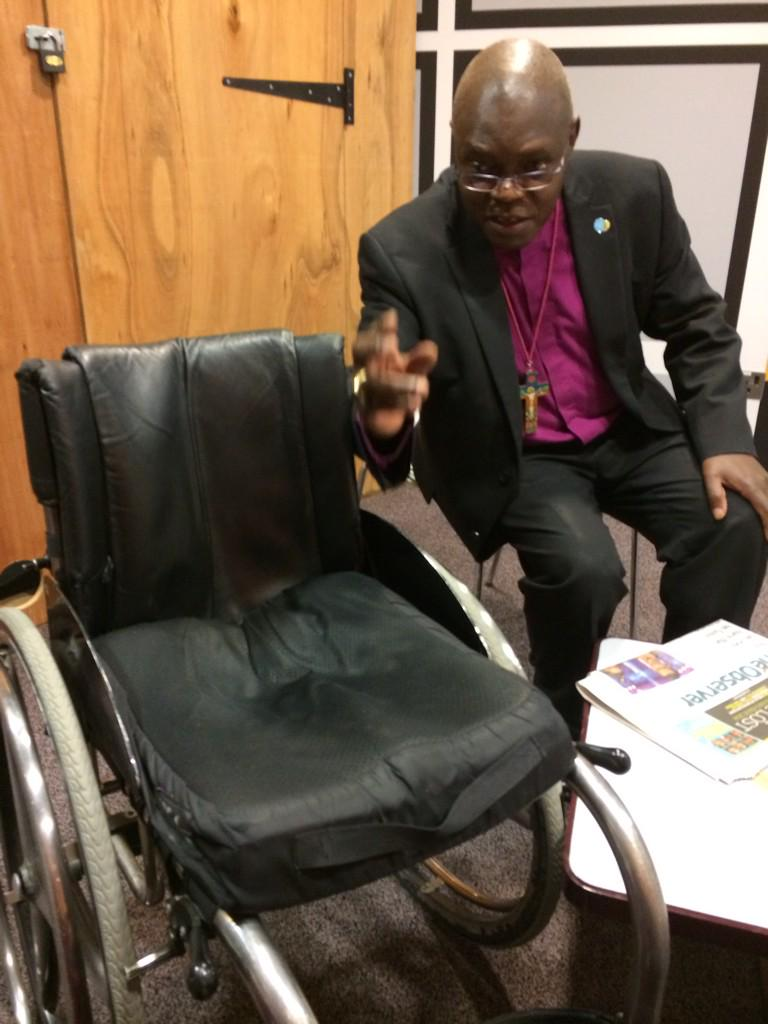 RT @FrankRGardner: Holy Roller: The Archbishop of York blesses my wheelchair this morning! http://t.co/V5CqBq047Q