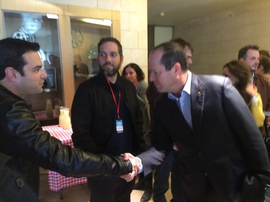 @Jamie Elman @YidLifeCrisis is welcomed by Mayor of Jerusalem Nir Barkat @JJJComedy #ComedyForAChange http://t.co/HalTVdyupB