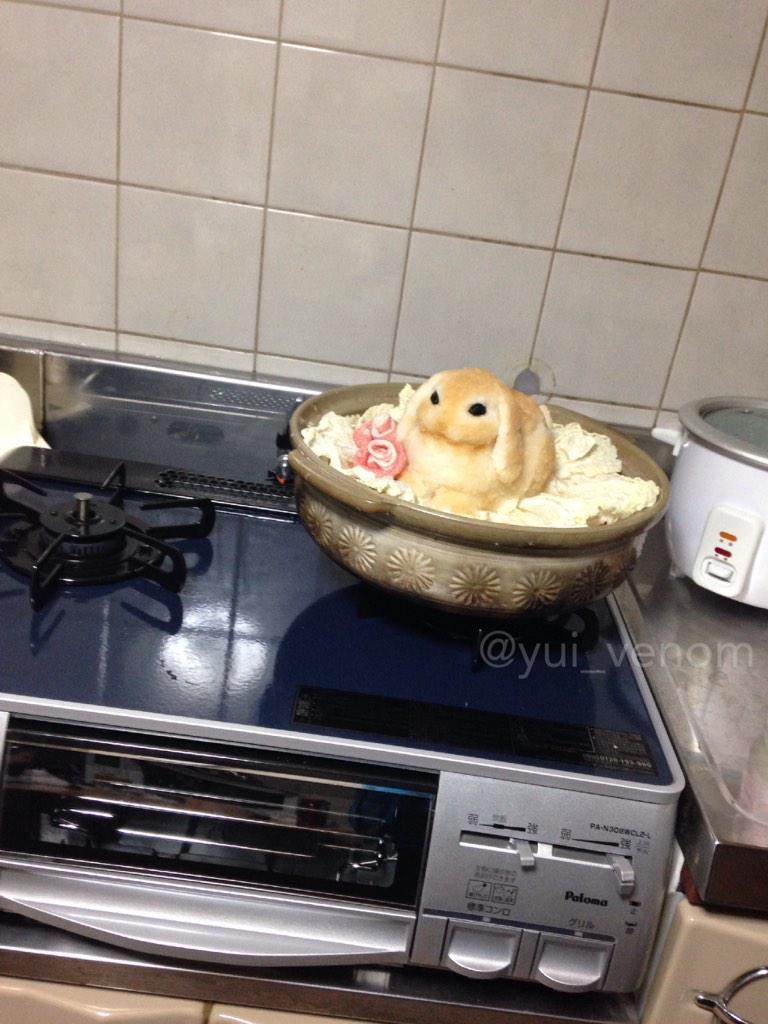 もはやアート!可愛くて食べれないウサギ鍋!?