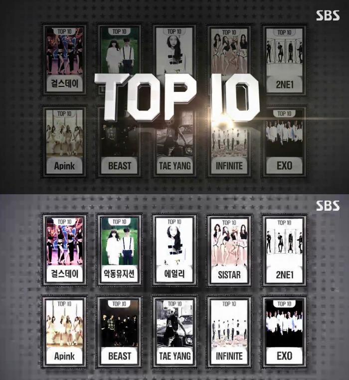 《#SBS가요대전》TOP 10 공개! #걸스데이 #악동뮤지션 #에일리 #SISTAR #2NE1 #Apink #BEAST #TAEYANG #INFINITE #EXO