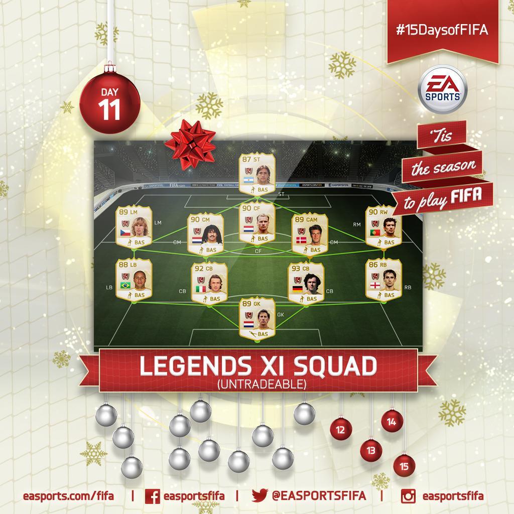 Day 11: #FUTLegends XI Squad! FOLLOW @EASPORTSFIFA and RETWEET for a chance to win. #15DaysofFIFA http://t.co/AxjhWPZXHZ