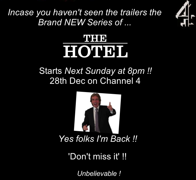 RT @_MarkJenkins: This time next week we'll all be getting ready to watch the New series of #TheHotel 8pm @Channel4 next Sunday 28th ! http…