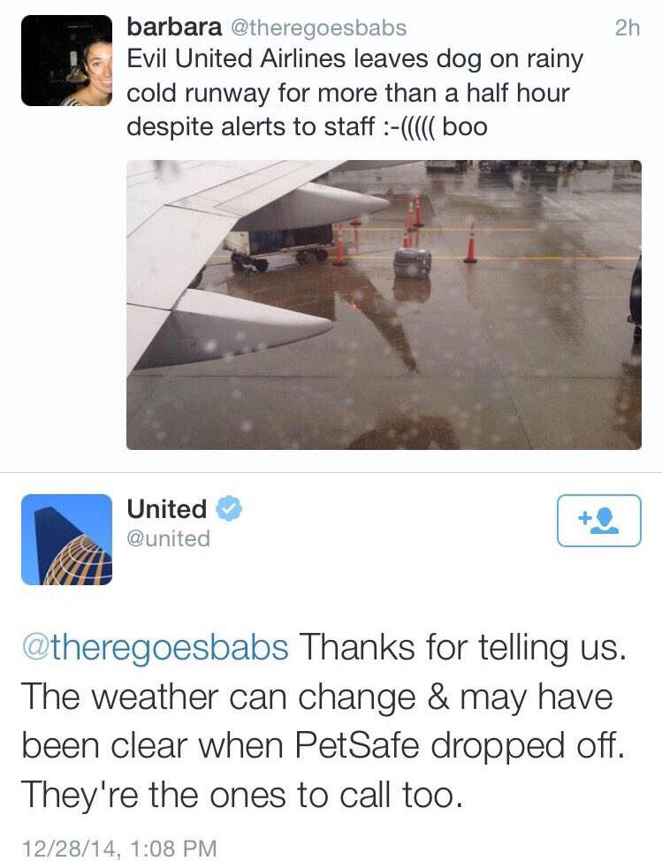 In God awful #customerfail news @united leaves a dog on the runway and responds to a tweet with this. Sigh. http://t.co/9MJl2UkGLg