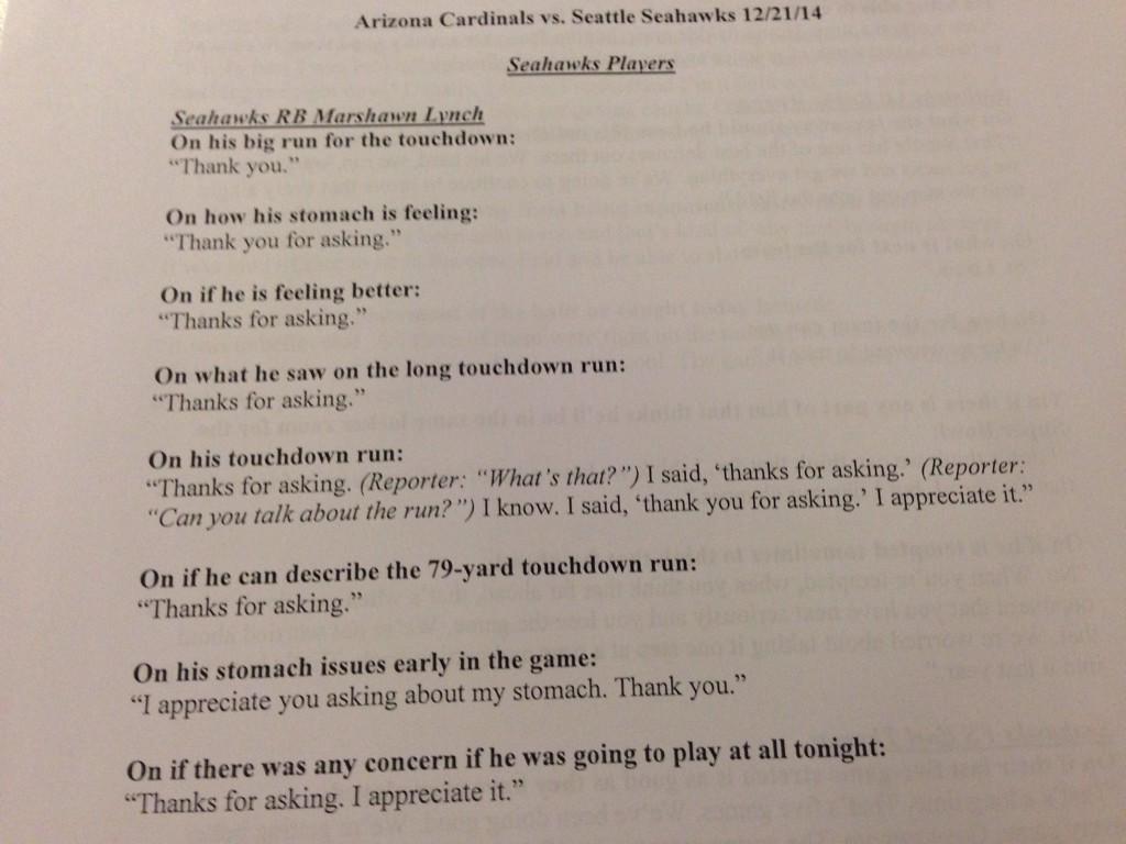 My hero. RT @MTAFSports: RT @bcondotta: Here's the transcript of Marshawn Lynch's post game interview. http://t.co/p5qLoqvjaE