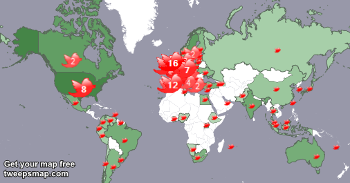 My followers live in 72 countries: UK.(16%), Spain(12%)... http://t.co/IRtNmygCxQ Get your free map! http://t.co/zxu7jqSogL