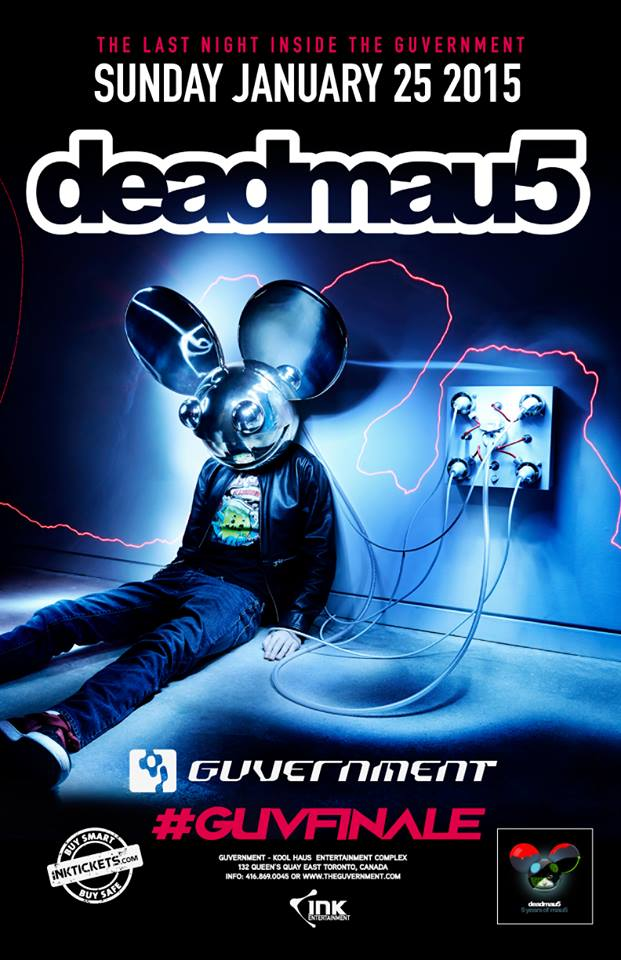 Sunday Jan 25, is the final night of The Guv, and we welcome @deadmau5 on the decks. Join us as we make history. http://t.co/TTRjJ9dL0r