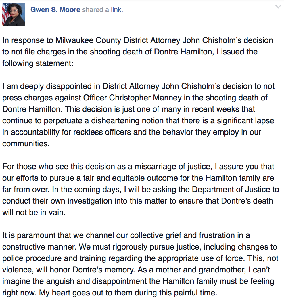 I assure you, our efforts to pursue a fair & equitable outcome for Dontre's family are far from over. #DontreHamilton http://t.co/ZHZ1rYU1Cs