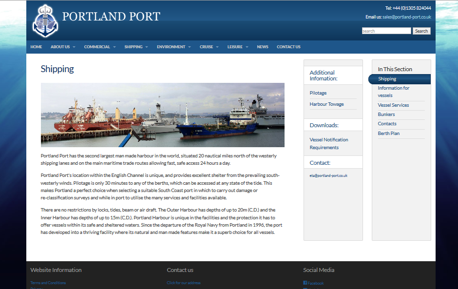 Portland Port's new website - relaunched in 2014 by Alacrify
