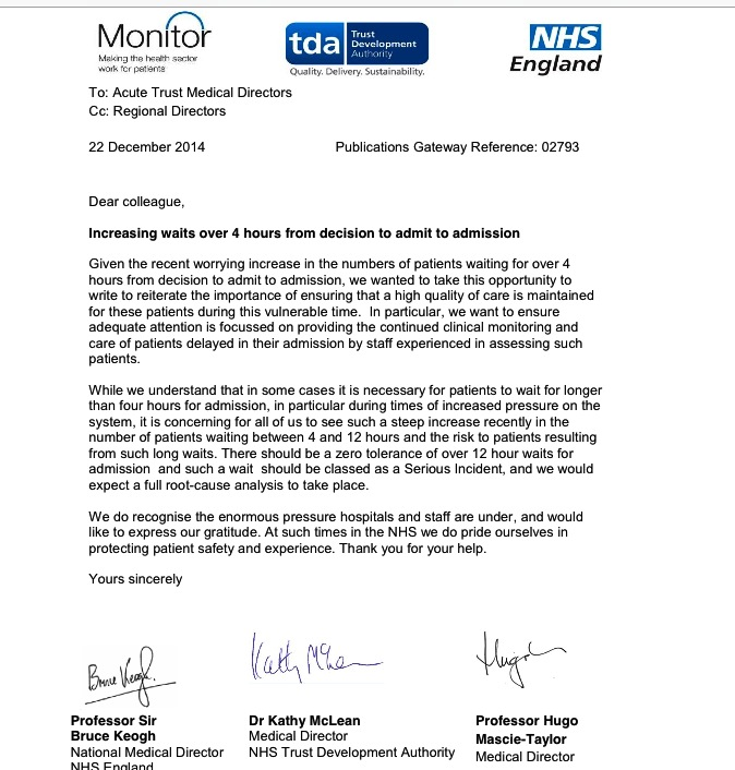 Totally fatuous letter from Monitor, NHSE, and TDA reminding Med Directors the NHS has targets and is busy. http://t.co/A1RdBjNOH3