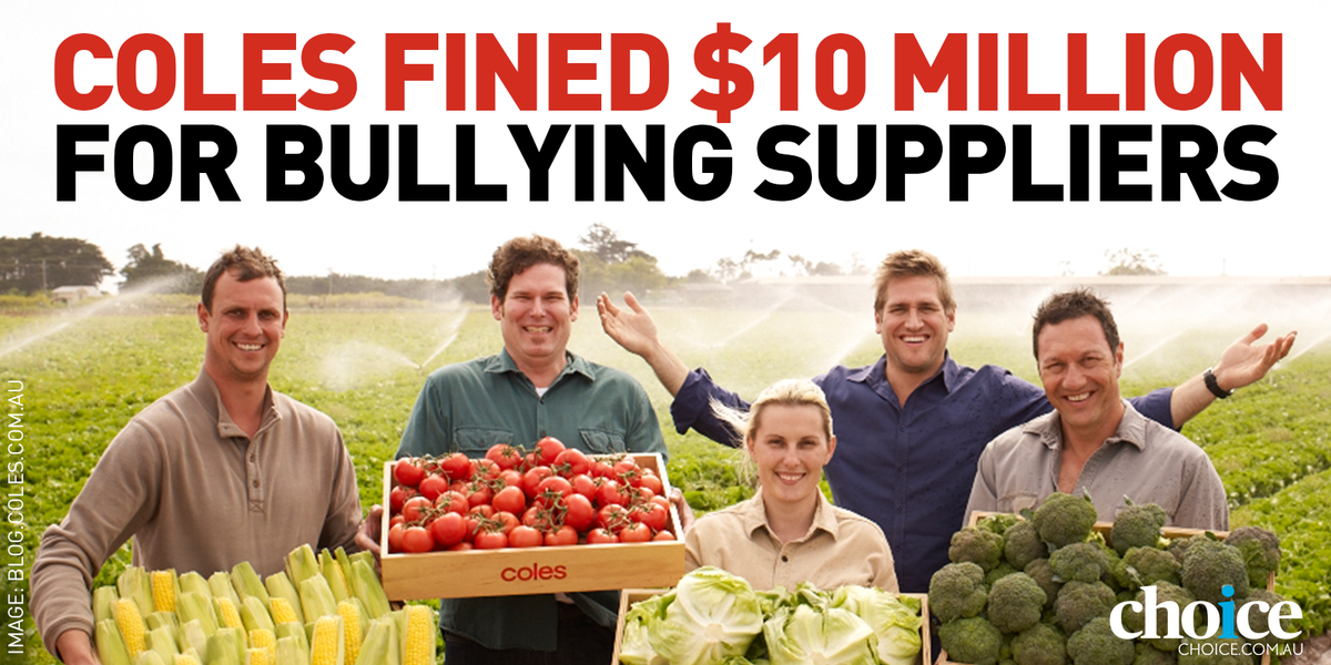 Coles fined $10 million for unconscionable conduct in its dealings with suppliers http://t.co/SdBbA4rayC http://t.co/FN9sSedPMH