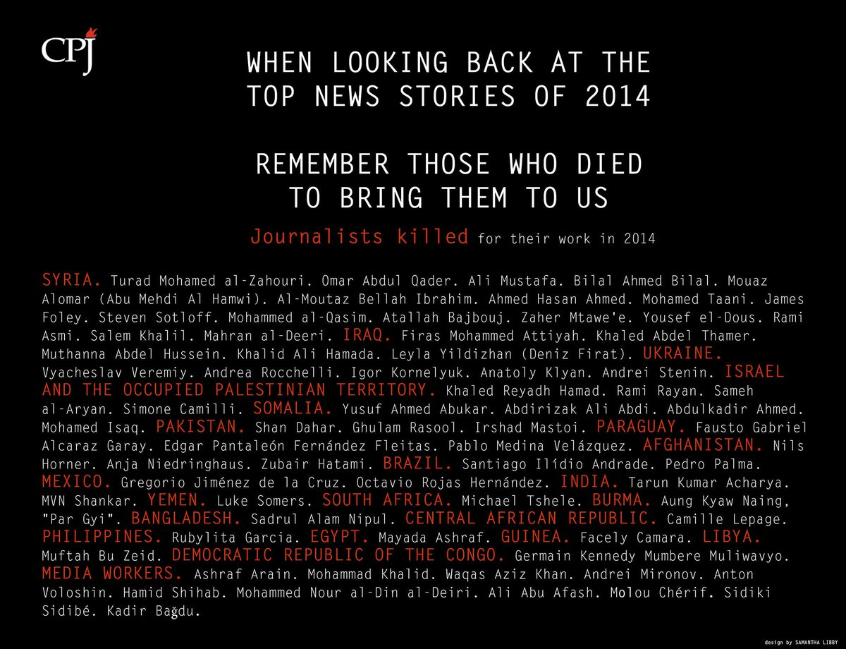 Thumbnail for In Memoriam: Journalists Killed in 2014