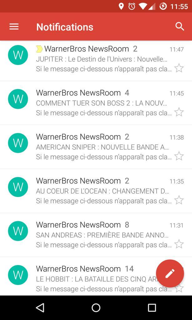 Les mails presse de @warnerbrosfr c'est sympa mais... 14 fois le mail sur le succès en salles du Hobbit ? ;) #spam