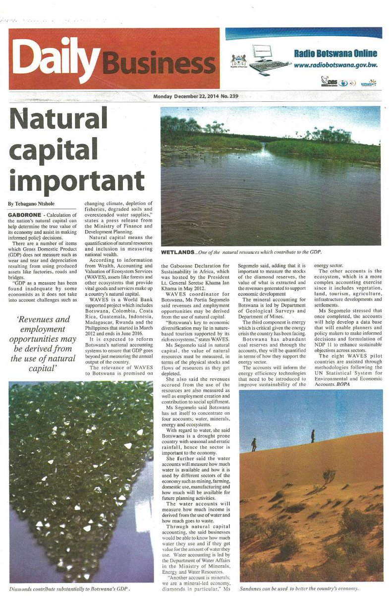 Calculating a nation's #naturalcapital can help determine true value of its economy: http://t.co/mu9wxN9Gcr #Botswana http://t.co/MciagGlqa8